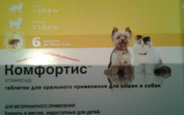 Состав препарата таблетки Комфортис от блох Применение таблеток от блох Комфортис у кошек